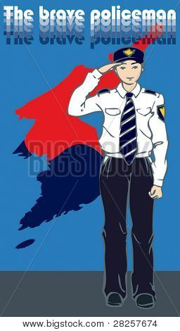 The Brave Policeman with hand salute - The Korean Map of a yin yang symbol