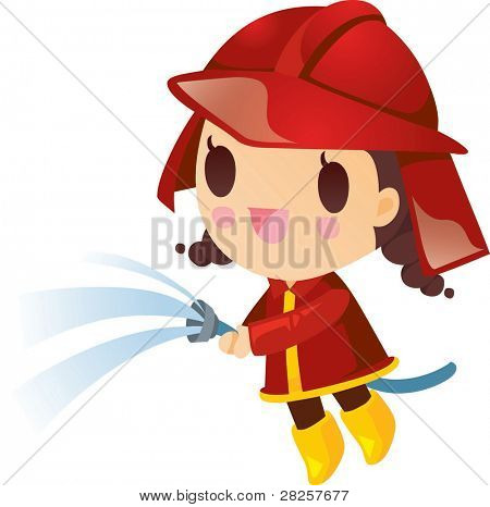 Happy and Smilling Cute Firewoman