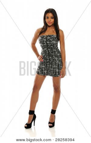 Young African American Woman Wearing a short dress  isolated on a white background