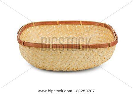 Wickerwork Empty Yellow Breadbasket