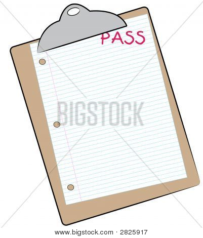 Clip Board W Lined Paper And Pass