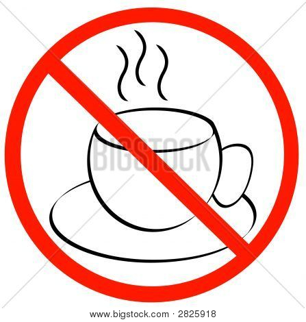 Coffee Mug Outline W Not Allowed Symbol