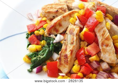 Chicken With Salsa And Spinach