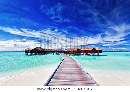 Overwater villas on the tropical lagoon