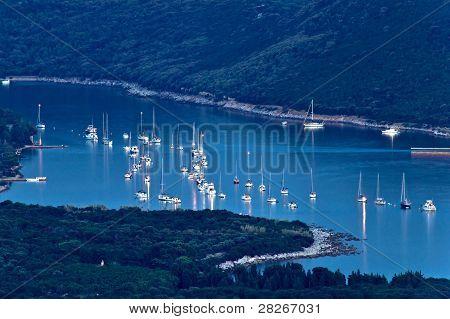 Island Of Ilovik Safe Nautical Harbor At Dusk