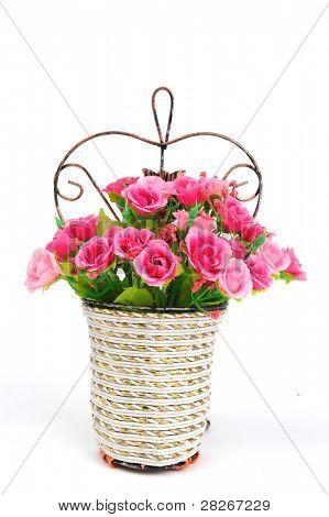 basket of flowers isolated on white background