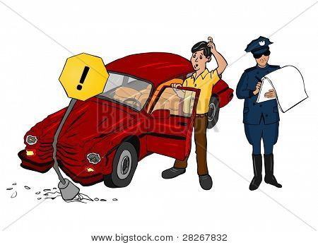 Acidente de carro com a polícia de trânsito