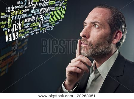 Thoughtful Businessman - Business Tag Cloud
