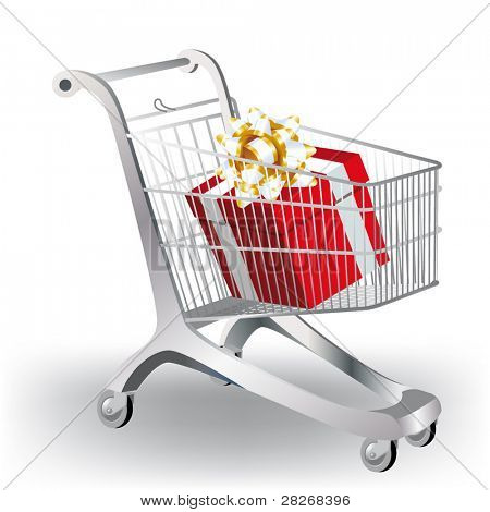 A shopping cart filled with colorful gift on white.