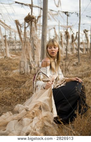 Fashion Girl Model In A Desolated Landscape