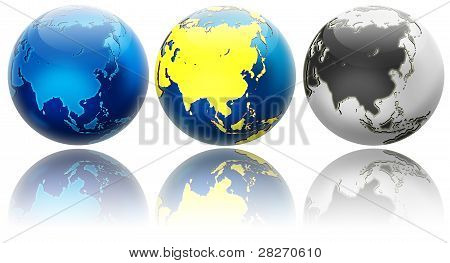 Three Different Colors Globe Variations Asia And Oceania