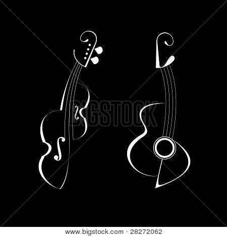 Guitar And Violin - Vector Icons