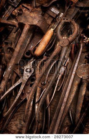 Herramientas viejas oxidados