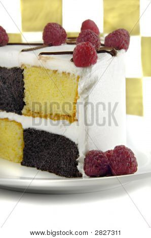 Checkerboard Cake With Raspberries
