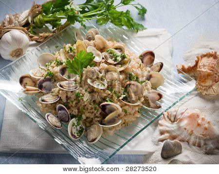 risotto with clam and parsley