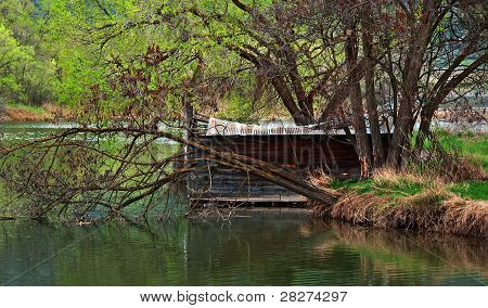 Old Shack On River Bank In Spring