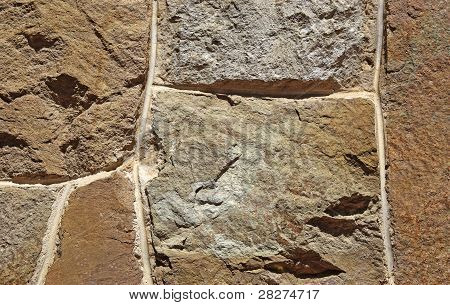 Wall Made Of Rough Rubble Stone. Good As Backdrop Or Background.