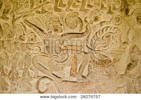 Warrior on a lion in battle, Angkor Wat