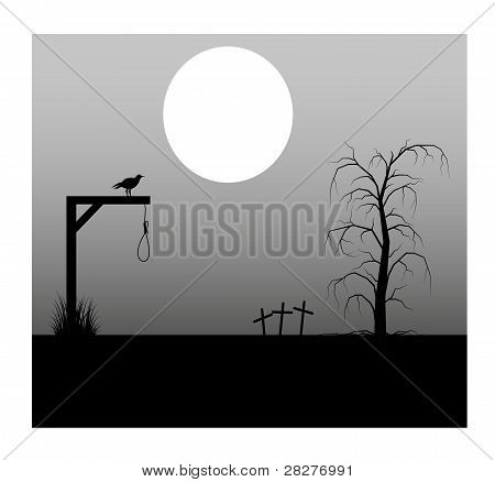 Spooky background with full moon lantern cemetery and the gallows