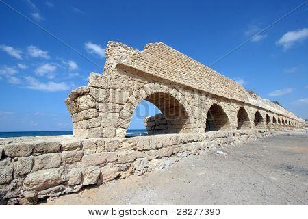 Ancient Roman aqueduct at Caesaria, in Israel.