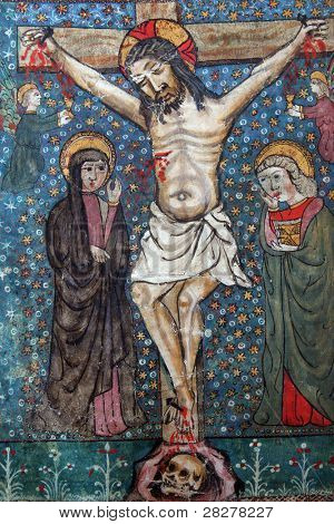 Crucifixion, Jesus dies on the cross. Close up of old Holy Bible book