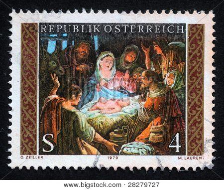 AUSTRIA - CIRCA 1979: A greeting Christmas stamp printed in the Austria shows Christmas Creche, circa 1979