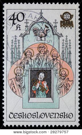 CZECHOSLOVAKIA - CIRCA 1978: Stamp printed in Czechoslovakia shows Prague Astronomical Clock or Prague Orloj, circa 1978