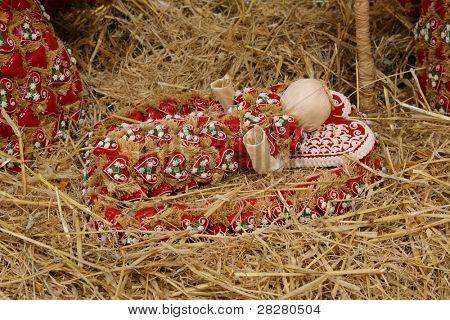Baby Jesus, Nativity scene, creche, or crib, is a depiction of the birth of Jesus
