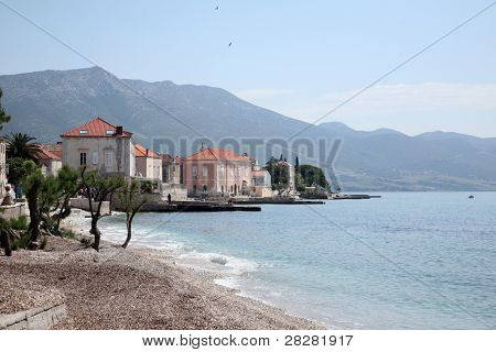 Shoreline of Orebic town on Peljesac peninsula