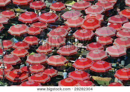 Traditional parasols on the Zagreb market - Croatia