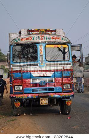 KUMROKHALI, INDIA - JANUARY 12: Typical, colorful, decorated public transportation bus in Kumrokhali, West Bengal, India, January 12, 2009.