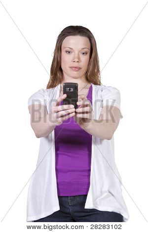 Beautiful Girl Taking a Picture with a Smart Phone
