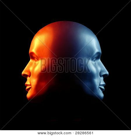 Two-faced Head Fire And Ice Statue