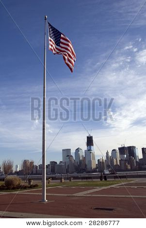 National Flag of United States, Manhattan skyline, Liberty State Park, New Jersey, USA