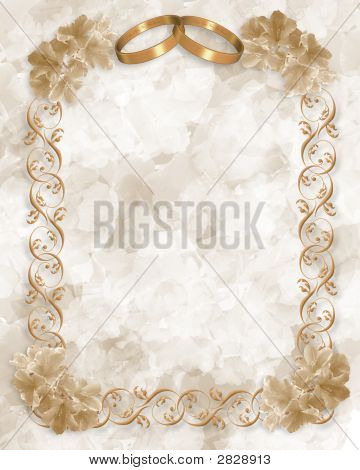 Wedding Rings Invitation Gold Stock photo