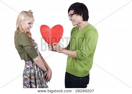 Cute Geek Couple Isolated On White