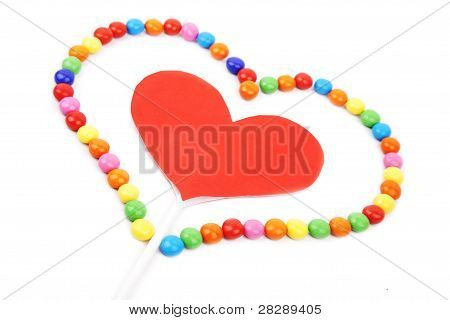 Isolated Cutout Heart With Candy
