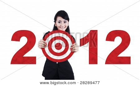 Asian Business Woman With 2012 Business Target
