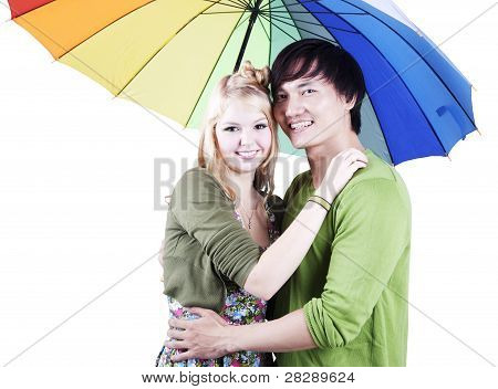 Mixed Race Couple With Umbrella