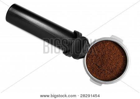 Acero inoxidable negro Espresso Maker máquina portafiltro llenado de café molido fresco aislado