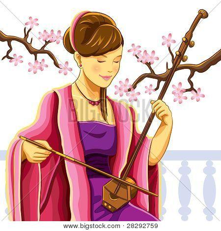 Beautiful Chinese Erhu Player