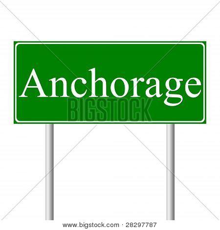 Sinal de estrada verde de Anchorage