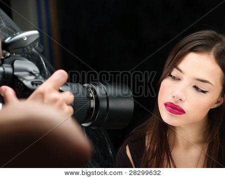 Female Model On Photo Shoting In Studio
