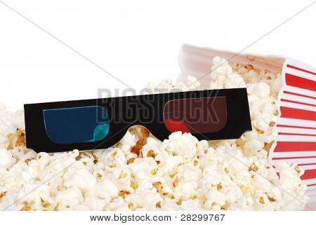 Spilled popcorn with 3D glasses