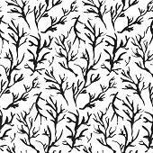 Contrast Black And White Seamless Pattern With Hand Drawn Inky Branches And Twigs. Monochrome Chines poster