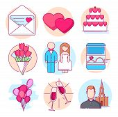 Modern Linear Pictogram Of Wedding. Icons Of Wedding. Wedding Cake. Wedding Invitation. Wedding Mood poster