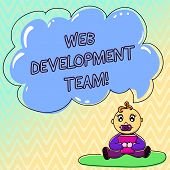 Handwriting Text Web Development Team. Concept Meaning A Team Of Developers Working Towards An End G poster