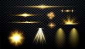 Set Of Flashes, Lights And Sparks. Abstract Golden Lights Isolated On A Transparent Background. Brig poster