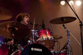 CLARK, NJ - SEPT 17: Drummer Elaine Bradley of the band Neon Trees performs at the Union County Musi