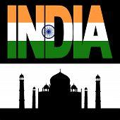 Постер, плакат: Тадж Махал и текст флаг Индии
